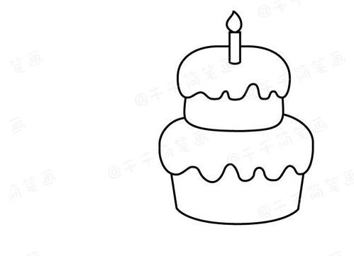 生日蛋糕簡筆畫