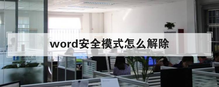word安全模式怎么解除