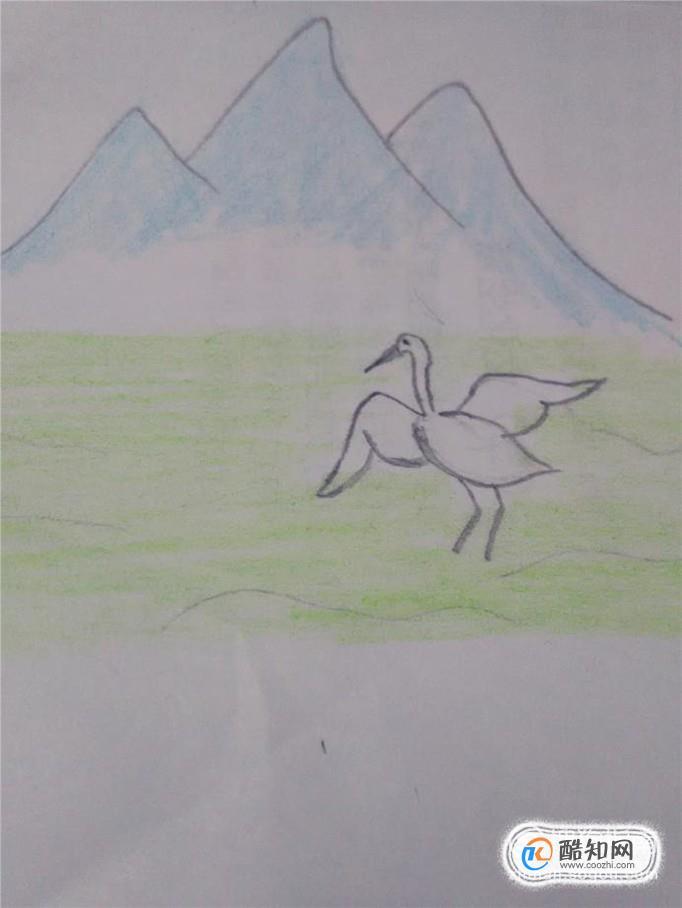 青山绿水白鹭飞,是一幅非常美丽的画面,下面就跟我一起来画这幅画.