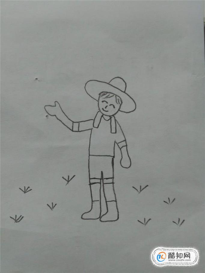 简笔画之如何画带草帽的农民