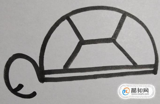画出乌龟的眼睛和嘴巴,眼睛圆圆的眼珠靠后,嘴巴弯弯的,显得乌龟的